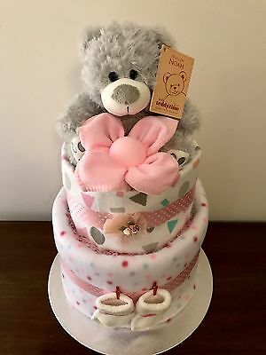 Two Tier Baby Girl Nappy Cake