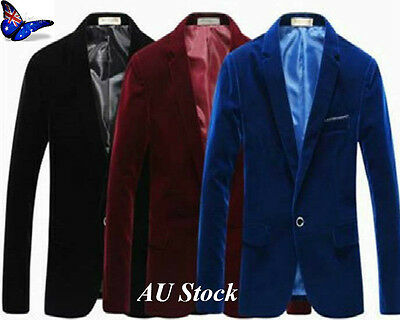 AU Mens One Button Velvet Suit Work Smart Blazer Coat Jackets Business Suit