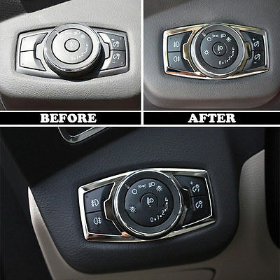 Fit For 12- Ford Focus Chrome Fog Head Light Lamp Switch Button Cover Trim Bezel