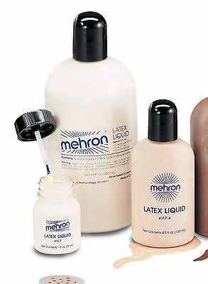 Mehron Liquid Latex Clear Light Flesh Special Effects Professional Makeup 1 oz