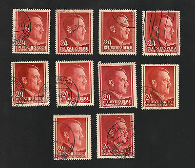 WWII Occupied Poland - Lot of 10 Stamps 24 Grosze with Hitler's Head - #3