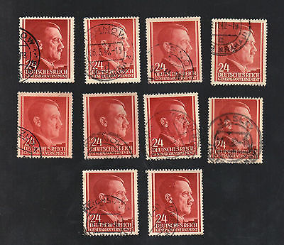 WWII Occupied Poland - Lot of 10 Stamps 24 Grosze with Hitler's Head - #4