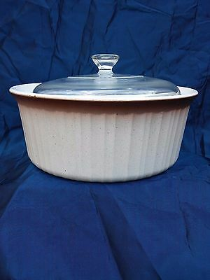 Corning Ware Ombre (French Bisque)  Casserole bowl 2.5 liter F 1 B w pyrex lid