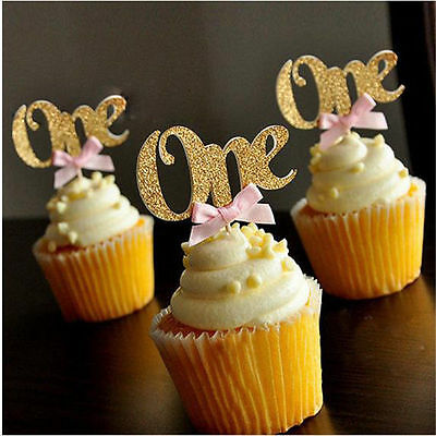 6/12Pcs Glitter ONE Cupcake Toppers Picks First Birthday Party Favors Decoration