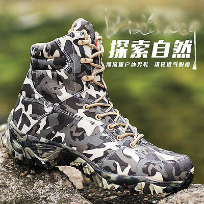 Men's Camo SWAT Tactical military Boots Outdoor Hunting Camping Waterproof shoes