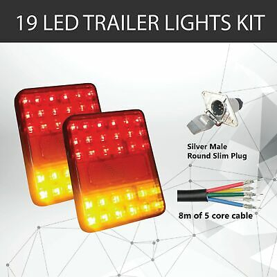Pair of 30 LED TRAILER LIGHTS KIT - 1 x Trailer Plug, 1 x 8M 5 CORE CABLE, 12V
