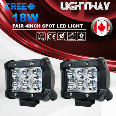 2X 4inch 18W CREE LED Work Light Bar Spot Offroad 4WD SUV ATV Fog Driving Lamp