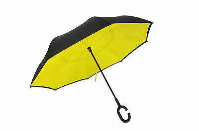 Windproof C-Handle Inverted Upside Down Umbrella Double Layer US shipping