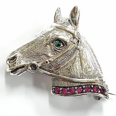 Horse Equestrian Brooch Natural Emerald Eye Ruby Collar 925 Sterling Silver
