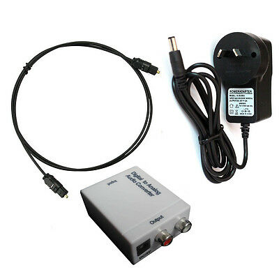 Optical Coax Coaxial Toslink Digital to RCA L/R Analog Audio Converter Adapter