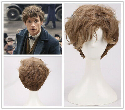 Where to Find Them Newt Scamander Beasts and Brown Curly Cosplay Wig