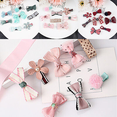 8Pcs/set  Kids Baby Girl Hair Clip Bow Flower Mini Barrettes Hairpin Hair Acess