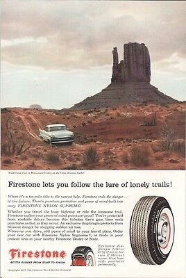 Firestone Tires Let You Follow the Lure of Lonely Trails Vintage Ad 1957