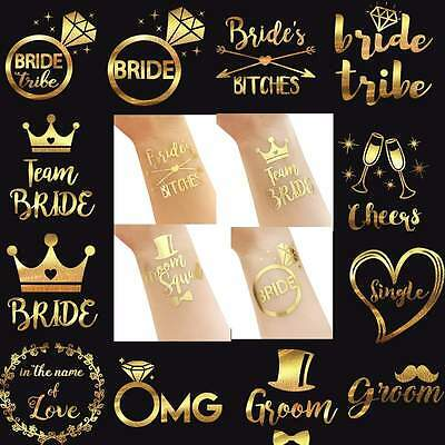 5X Gold Team Bride Tattoo Temporary Transfer Hen Night Party Wedding Decoration