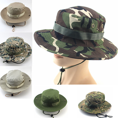 Boonie Bucket Hat Cap Cotton Fishing Military Hunting Safari Summer Outdoor Men