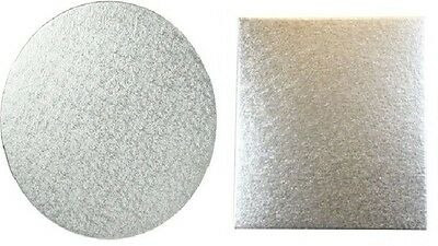 Silver Cake Boards 3MM Double Thick - Multiple sizes, shapes & QTY Available