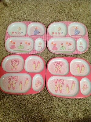 4 Baby/toddler Divided Plates Fairy, Ballerina Shoes Pink