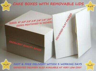 Cakes Boxes With Removable Lids - Sizes From 8 - 20 Inch Multiple QTY Available