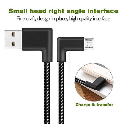Braided L Shaped Micro USB 90 Degree Angled Fast Data Sync Charge Charging Cable
