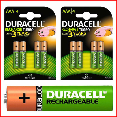 4 x Duracell AAA 850 mAh TURBO Rechargeable Ultra Batteries NiMH ACCU LR03 HR03