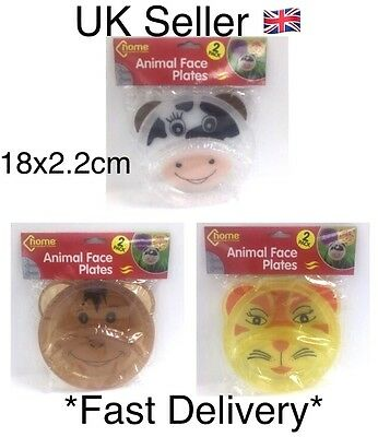 Kids 2 Pack Animal Face Plates Divided In 2 Parts Monkey Cow Tiger 18x2.2cm UK