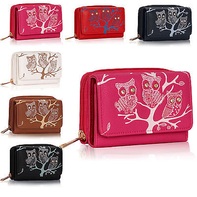 Owl Print Trifold Women Purse Wallet Designer Ladies Girl Coin Notes Clutch Bag
