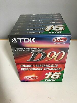 16 Pack Of Tdk D90 High Output Cassette Tapes New Factory Sealed