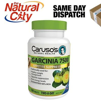 SUPER GARCINIA CAMBOGIA 120 TABS x 1-60% HCA 7500MG CARUSO'S WEIGHT LOSS