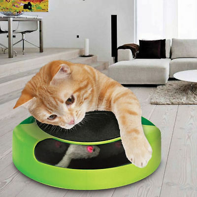 Catch The Mouse Cat Kitten Play Toy Scratching Claw Care Mat Motion Plush Moving