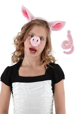 Pig Nose Ears & Tail Costume Accessory Set Adult One Size
