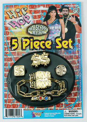 Hip Hop Big Daddy Bling 5 Piece Costume Jewelry Set