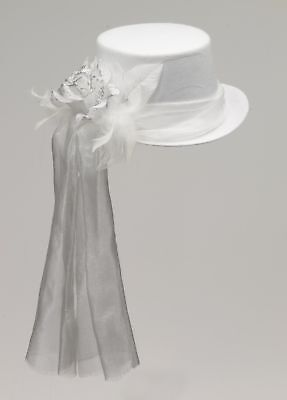 Ghostly White Rose Costume Top Hat Adult One Size