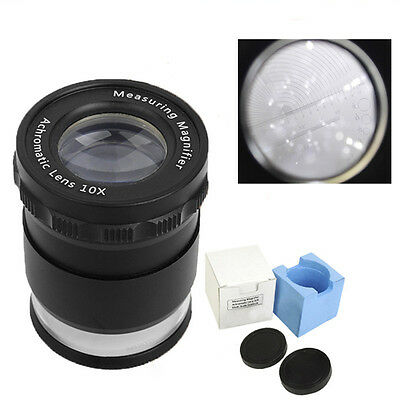10X LED Adjustable Measuring Illuminated Magnifier Loupe with Scale Graticule