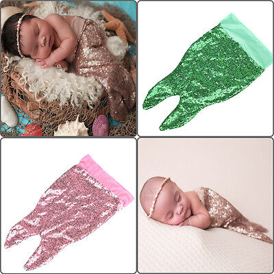 Newborn Baby Infant Girl Boy Sequin Mermaid Tail Costume Photography Photo Prop