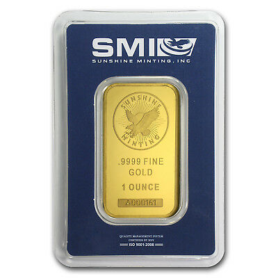1 oz Sunshine Mint Gold Bar .9999 Fine in Assay Card