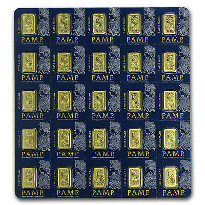 25 gram (25 x 1 gram) Pamp Suisse Fortuna Gold Bar Multigram in Assay Card