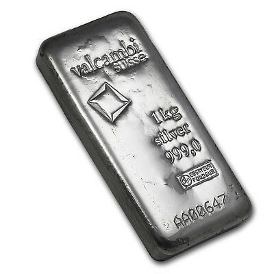 Kilo Kilogram 32.15 oz Silver Valcambi Cast Bar with Assay Card
