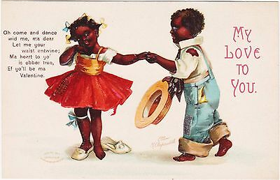 Rare Unused 781 Ellen Clapsaddle Black Americana Valentine Postcd My Love To You