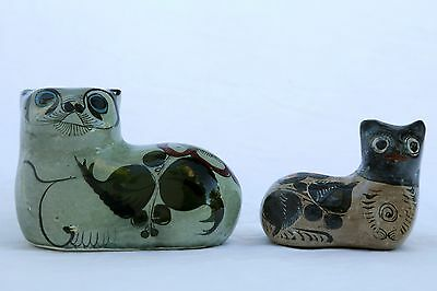 vintage pair of hand painted Mexican cermatic cat figurines