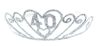 "Birthday ""40"" Silver Spakle Tiara Adult Crown"