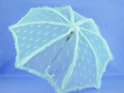 """Steampunk Lace Costume Umbrella Parasol 37"""" Turquoise One Size"""