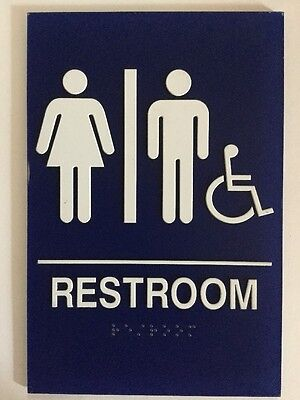 Blue New Restroom Sign Unisex  Ada Braille Public Bathroom