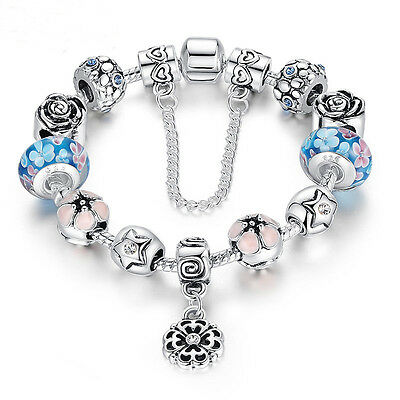 Christmas European Murano Glass Bead 925 Silver Bracelet with Blue Crystal Charm