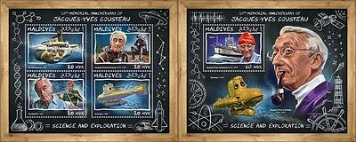 Z08 IMPERF MLD17705ab MALDIVES 2017 Jacques-Yves Cousteau MNH ** Postfrisch Set