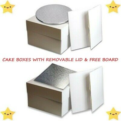 Cake Boxes with Removable Lids & Free 1.5mm Cake Cards / Trays - Multiple Sizes