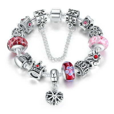 DIY European 925 Sterling Silver Pink Crystal Glass Bead Charm Bracelet w Charms