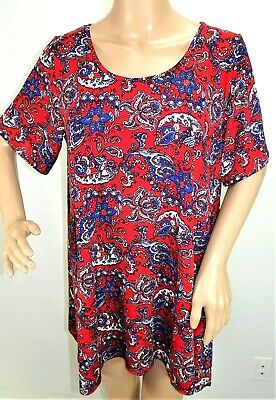 Ultra Teeze Women Plus Size 1x 2x 3x Floral Red Sweater Top Blouse Shirt Top