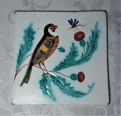 Antique Pottery Hand Painted Tile Glazed Bird Dragonfly Thistles Nature Scene 6""
