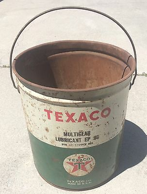 Vintage Texaco Oil Can Bucket Multi Gear Lubricant With Handle