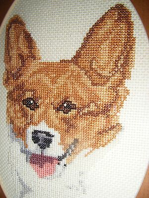 "WELSH CORGI Dog NEEDLEPOINT PICTURE Portrait Gold Framed 8x6 8"" 6"" inch Terrier"